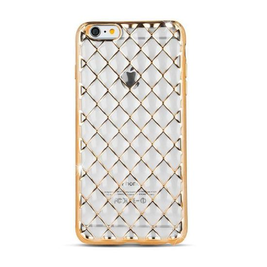 Husa spate iPhone 7 / iPhone 8 Grid Case Gold